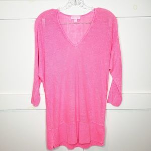 Lilly Pulitzer Hot Pink 3/4 Sleeve Linen Shirt